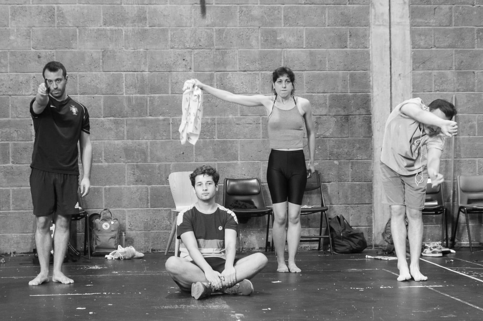 Living Latino  rehearsal shot (Antony Antunes, Aaron Kehoe, Emma Zadow, Sammy Attalah), 2018