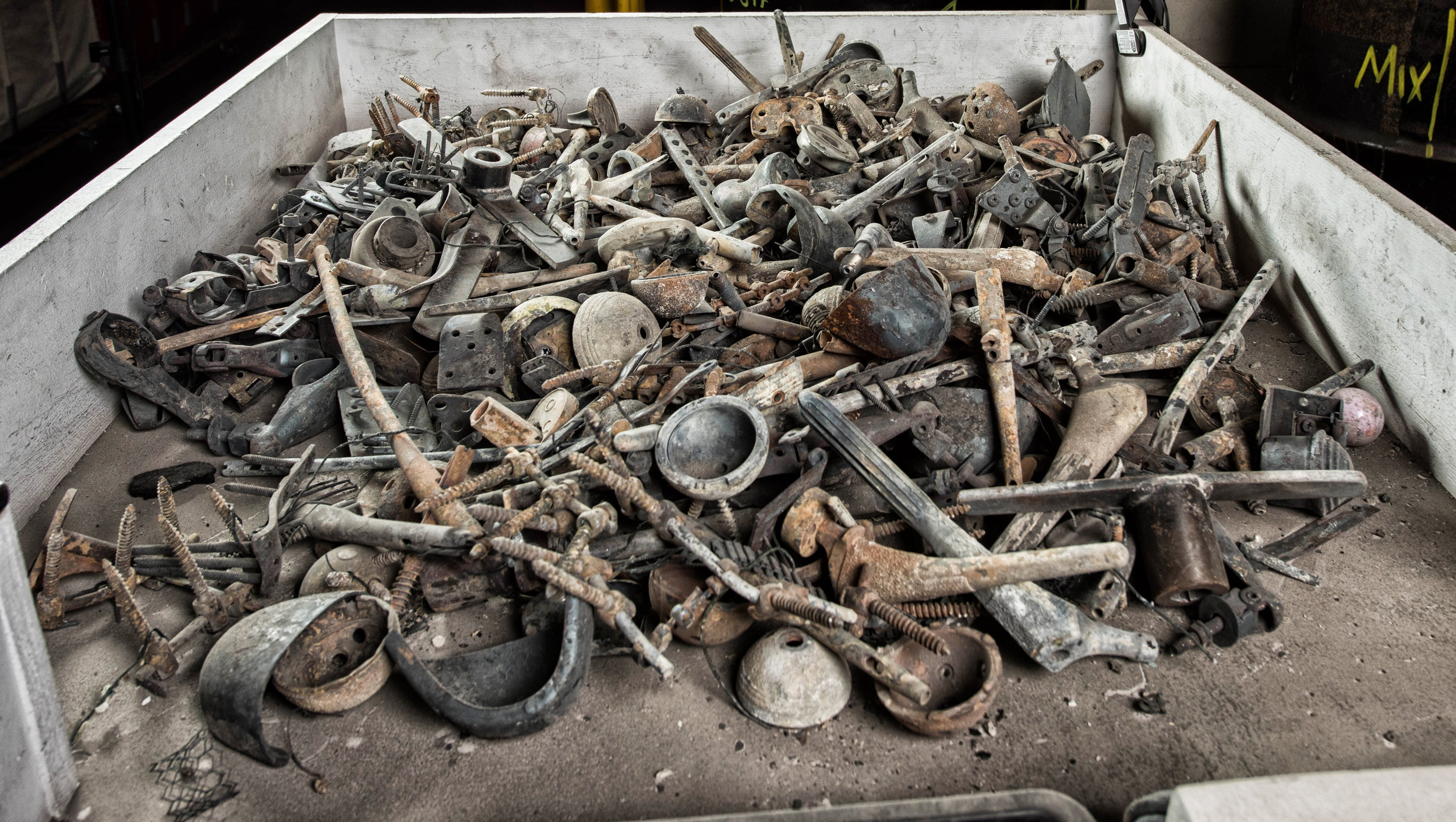 Post-Cremation metals ready to be sorted.