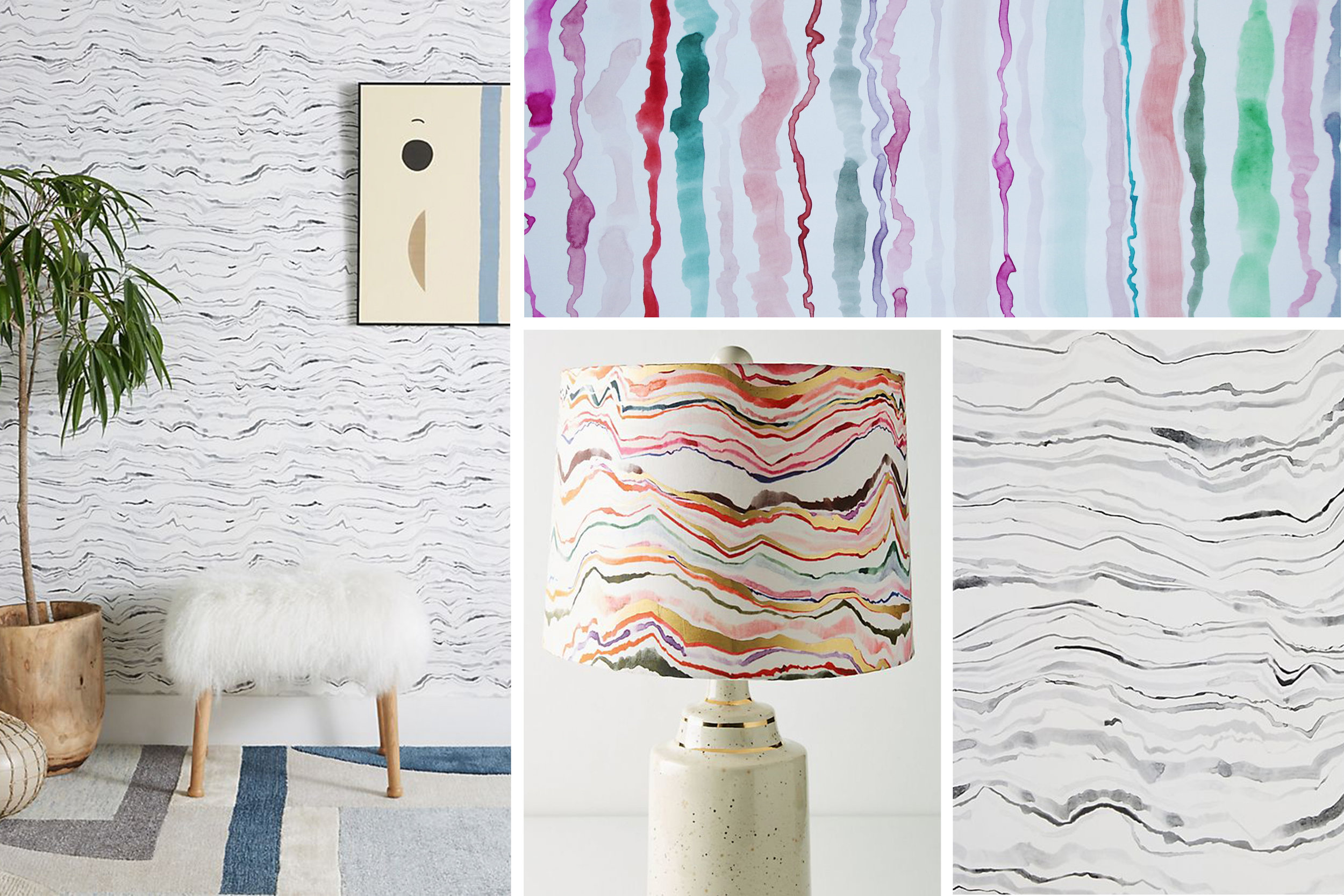 Anthropologie Home - Sonora Wallpaper and Marini Lampshade Art - Spring 2018