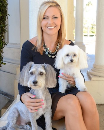 Dr. Lori Friesen with her doctoral inspirations, Sparky (l) and Tango (r).