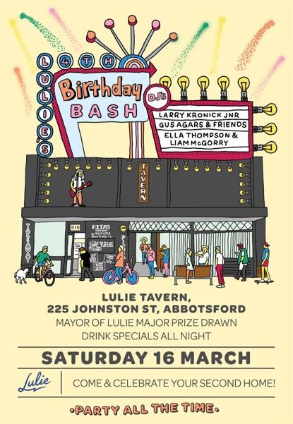 LULIE'S BIG BIRTHDAY BASH - Saturday 16th March 2019
