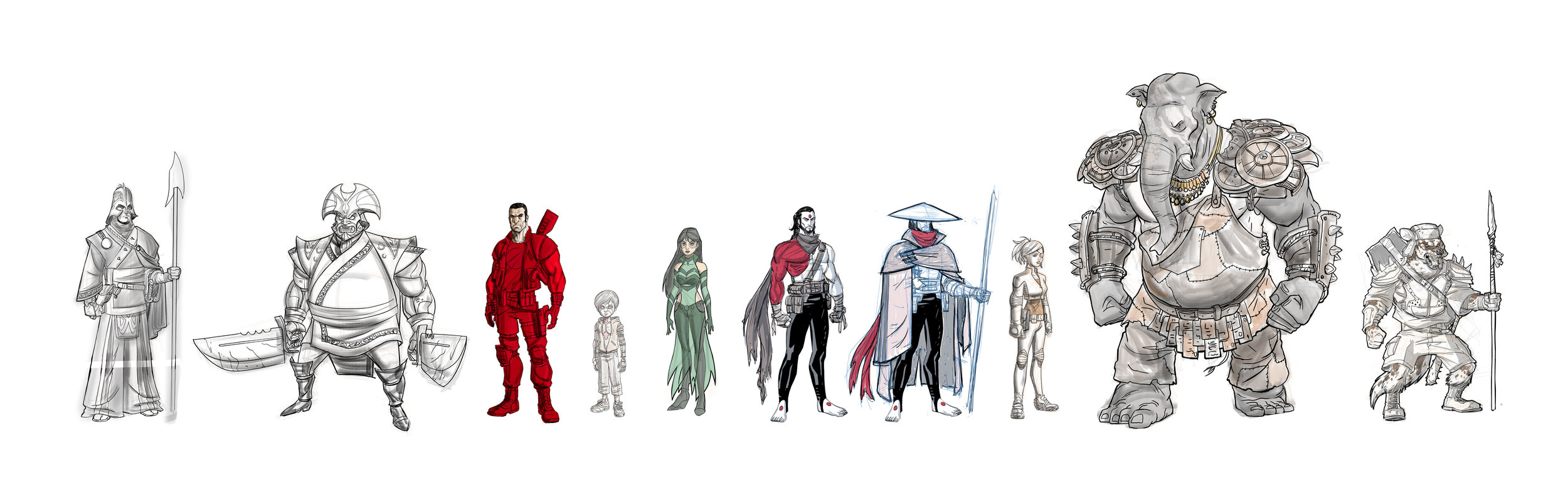 FALLEN WORLD Character Designs by AJ Jothikumar. From left to right: Acolyte of the Fallen, The Circadian, Bloodshot, Raijin, Karana, Rai, Rai, Lula, Ka'Orta, Kor'tanga Warrior