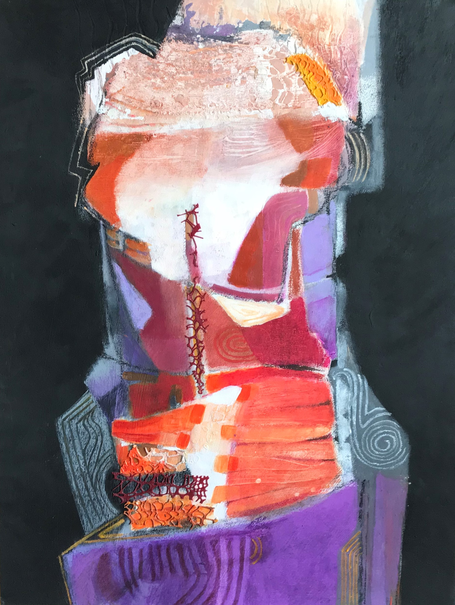 """""""Sentinel""""  painting  acrylic, oil pastel, collage, watercolor on Strathmore paper"""