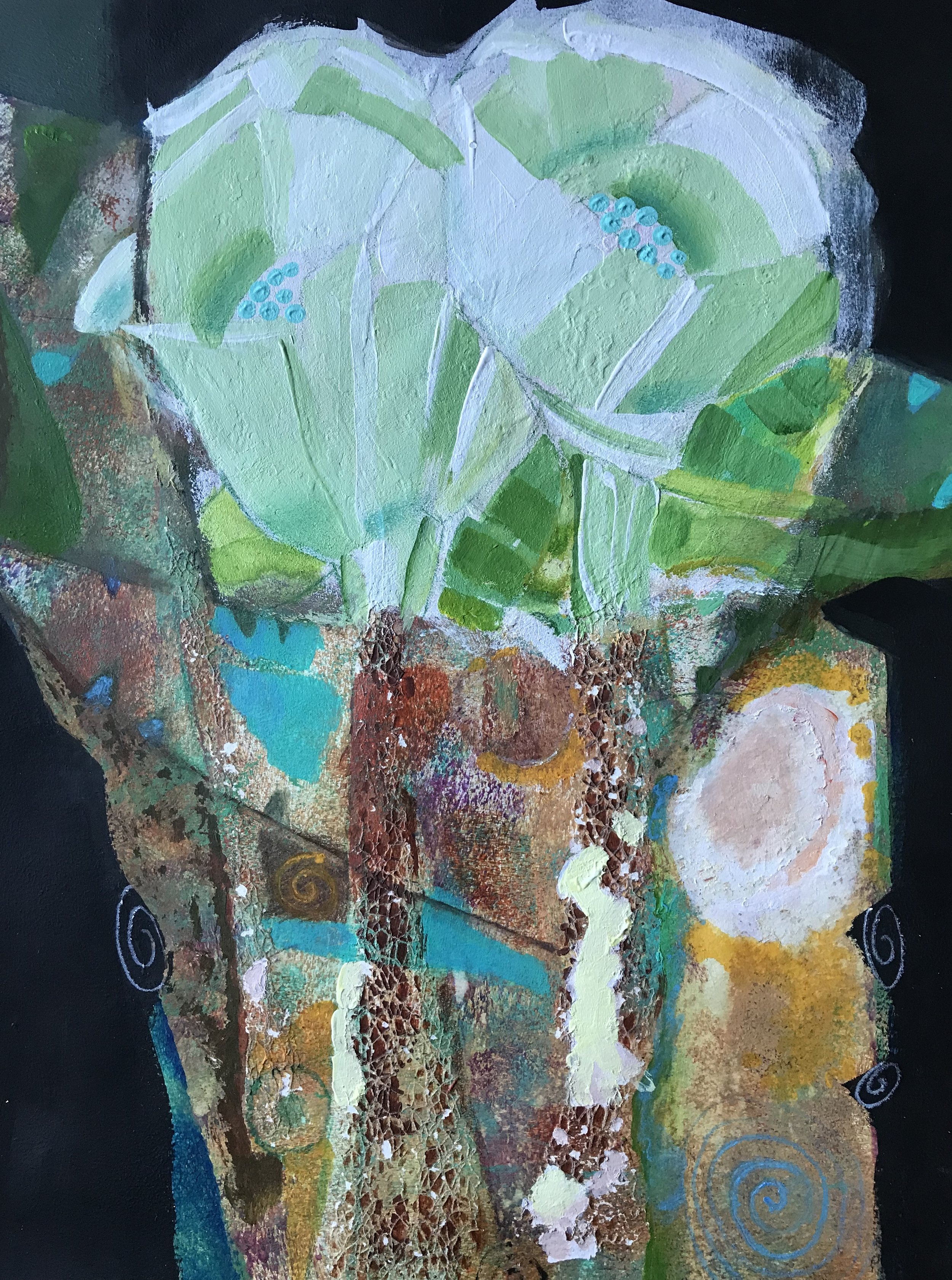 """""""Bouquet""""  painting  acrylic and oil pastel  22"""" x 18"""""""