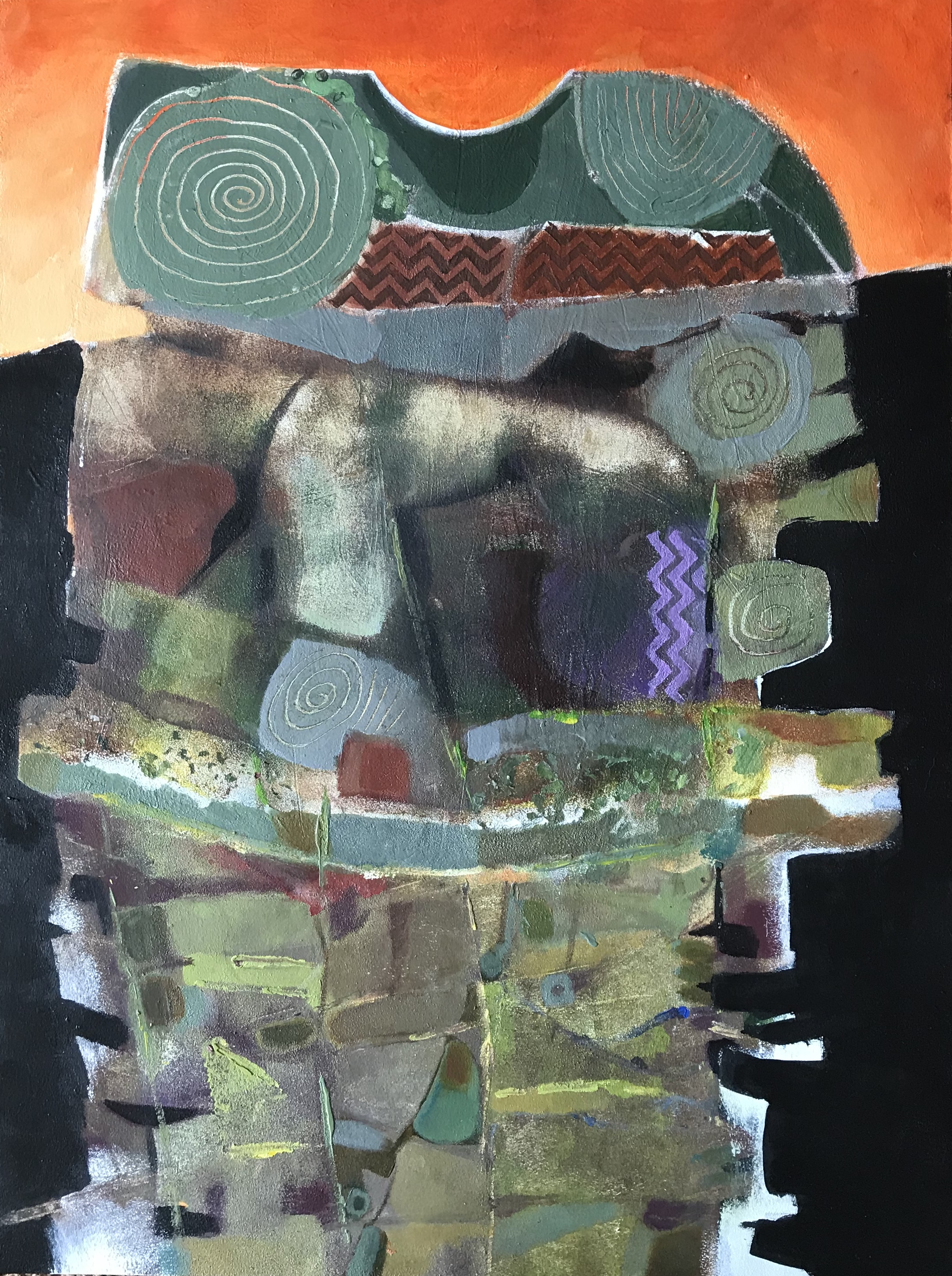 """Tribes  painting  acrylic and oil pastel on Strathmore paper  29"""" x 23"""""""