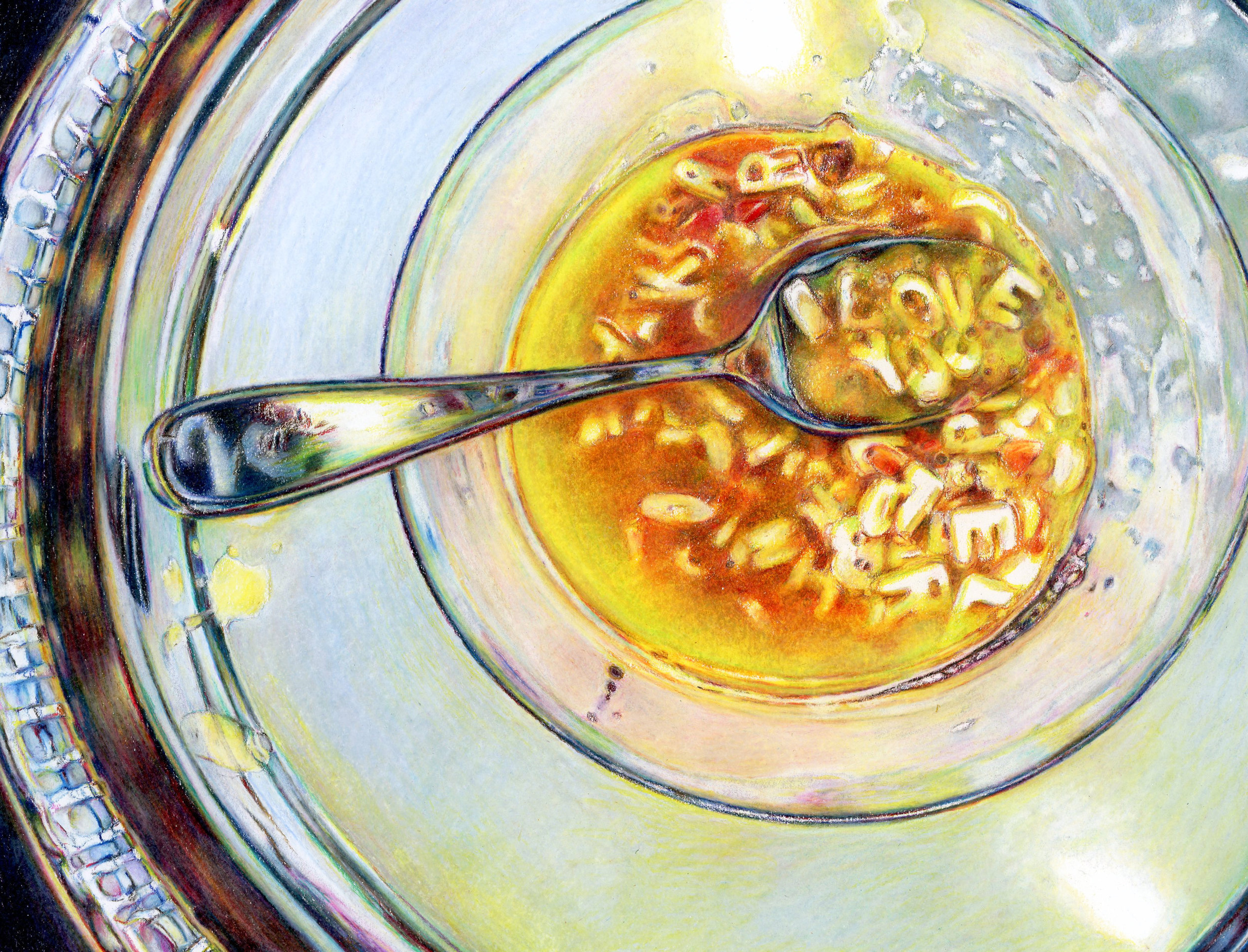 """Love You Soup""  drawing  prismacolor colored pencil  SOLD"