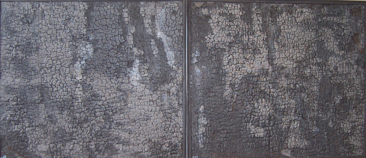 """The Silence""  diptych 43"" x 98""  burnt charred wood, paint  SOLD"
