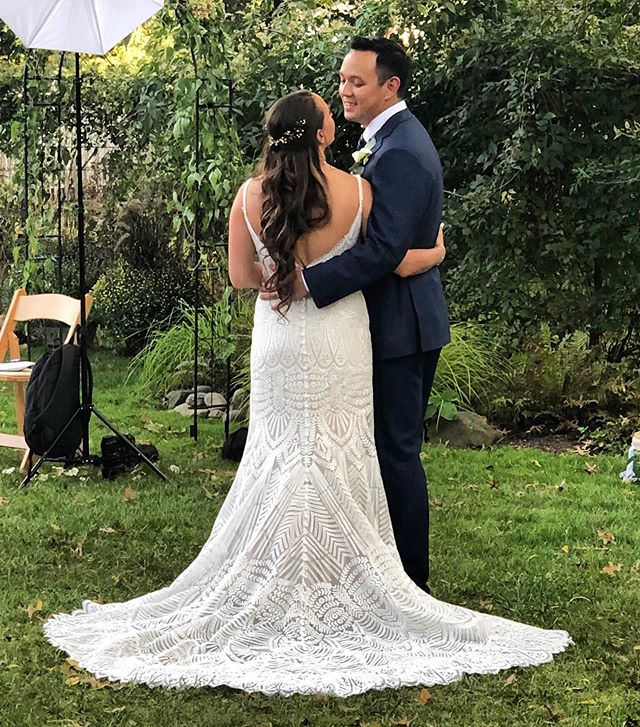 Take A Moment. We loved working this intimate backyard wedding at our brides parents home. Here are the bride and groom taking a moment and soaking it all in. Check out the back of that dress! . . .  #relishcatering #relishdc #catering #eeeeeats  #cateringservice #cateringevent #cateringlife #plated #yougottaeatthis #athomewedding #foodgasm #rusticwedding #igfood #outdoorreception #instafood #dcwedding #dcevent #mdwedding #mdevent #food #foodie #farmtotable  #weddinginspo #vawedding #outdoorwedding #livecolorfully #weddingdress #weddingdresstrain #laceweddingdress #beadedweddingdress