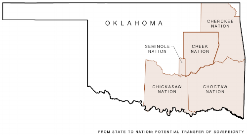 """Previous boundaries of the 'Five Civilized Tribes'. Image source: the author. - In the current era of Indigenous self-determination, courts are ruling in favor of greater degrees of sovereignty for tribes. This means that the tribes are gaining autonomy from federal paternalistic oversight and state interference than they have in past eras of federal law. Common law, at its core, is iterative. In real time, it alters rights and their relationships to land and is decided upon by people in inherently temporary positions. It builds upon the current cultural ethos, which creates a system of power and control that is both reflective and directive of cultural norms.If territory is the product of socio-spatial processes that aim to exert power or control, the determination of criminal jurisdictional authority is part of the ongoing processes of (re)territorialization; the outcome of which is the territory itself. As David Knight states, """"territory is not; it becomes, for territory itself is passive and it is human beliefs and actions that give territory meaning.""""The Creek Nation's current territory encompasses metropolitan Tulsa, where over one million people reside, work, commute on state and interstate highways, and pay taxes. Still, the single most confounding aspect of this case is that America has yet to envision a future where urban land is also tribal land. Where profitable energy industries are headquartered. Where the urban dweller pays taxes to the Creek Nation. Where indigeneity is not stuck in a history book. Where multiple sovereigns collide.Felix S. Cohen, creator of the modern field of Federal Indian law, states """"the laws governing the Indians of Oklahoma are so voluminous that analysis of them would require a treatise in itself."""" It is this complexity that has deterred spatial thinkers from utilizing law and governance as lens through which patterns and forms of spatial development are investigated. Furthermore, tribal jurisdictional politics have been larg"""