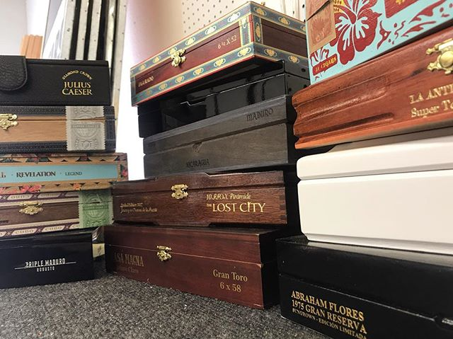 """While continuing to work on our production line, we are building up a nice stock of your less than common cigar boxes! Stay tuned for our Premium Line of """"one of a kind"""" CBG's!"""