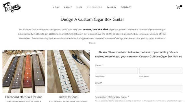 "New ""Design A Custom Cigar Box Guitar"" page on our website! Check it out! Link in bio. With an easy to fill out form and tons of example pictures, the options are endless! Let's build you your very own one of a kind cigar box guitar!"