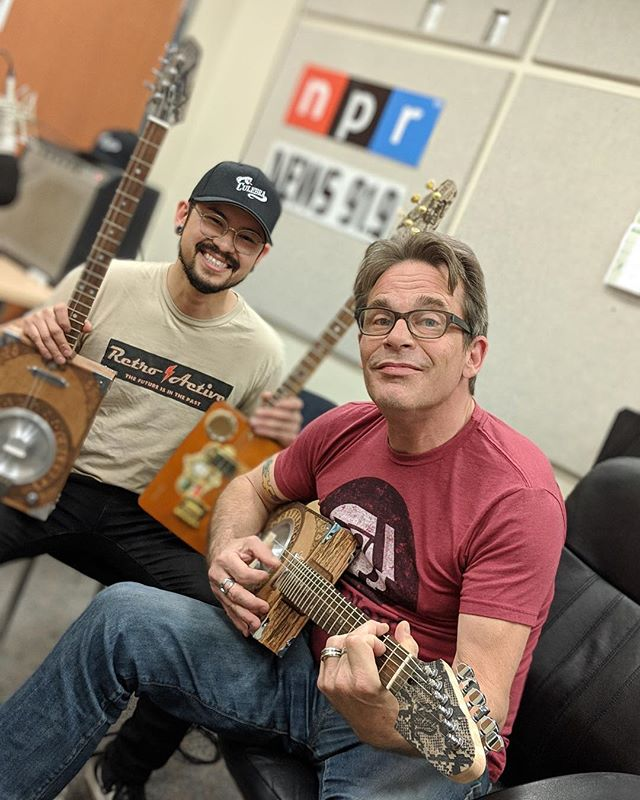 Today was a good day! Much love to the staff and the incomparable David Fleming over at KVCR 91.9FM @npr for the amazing opportunity to talk about Culebra Guitars and cigar box guitars!