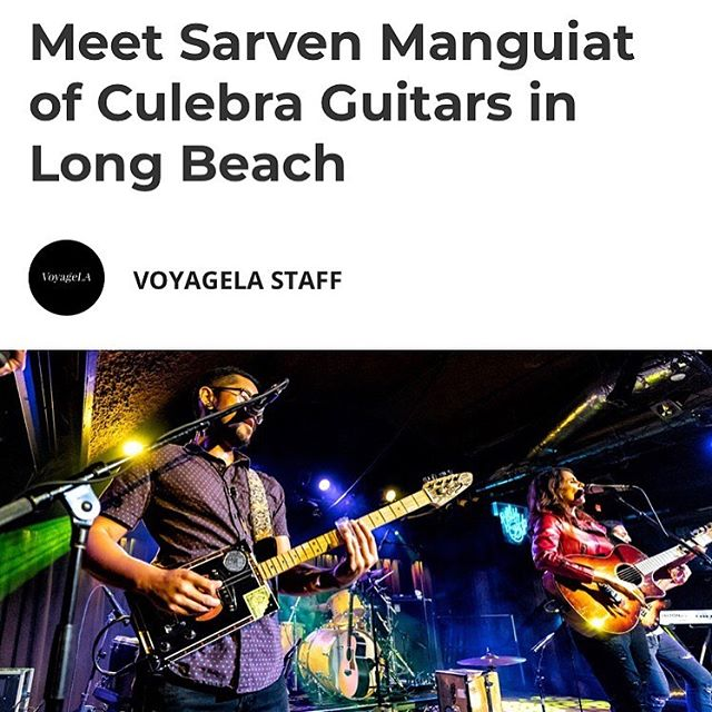 Check out Sarven's interview with @voyagelamag and read about his journey through the music industry and into cigar box guitars. Thanks @voyagelamag for the feature! Link in bio.