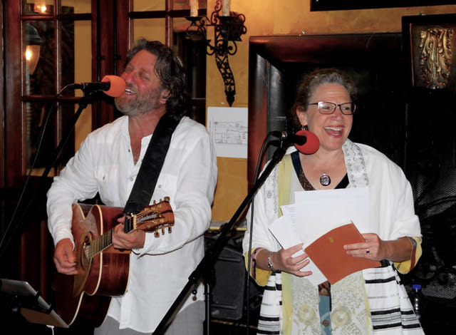 Jason singing with Rabbi Marcia Tilchin of Jewish Collaborative of Orange County