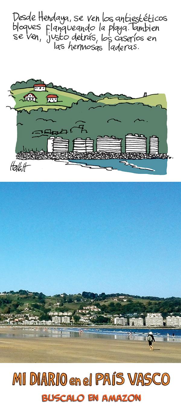 Caseríos y bloques en el interlimen desde la playa de Hendaya