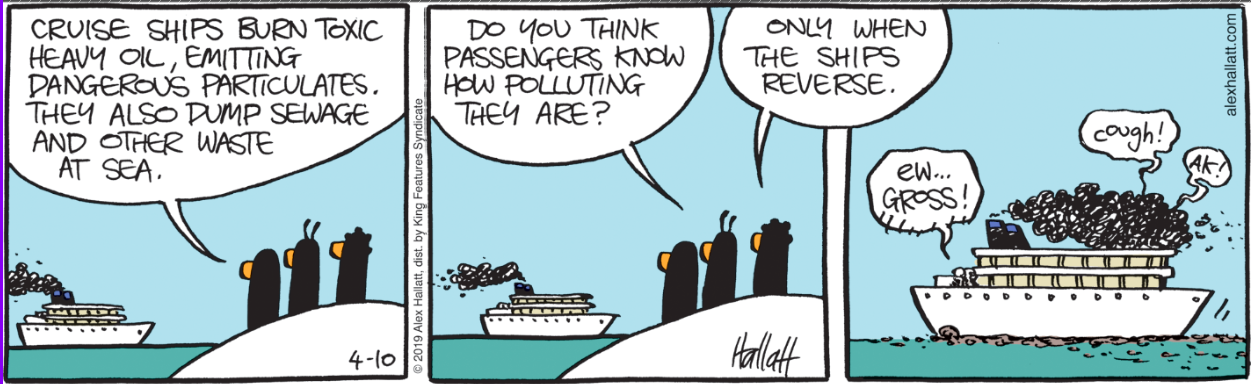 Cruise ships are as polluting as half a million cars. And some.