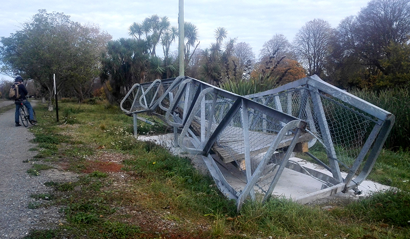 "This is part of the ""munted"" Medway bridge that was twisted in the 2011 Christchurch earthquake"
