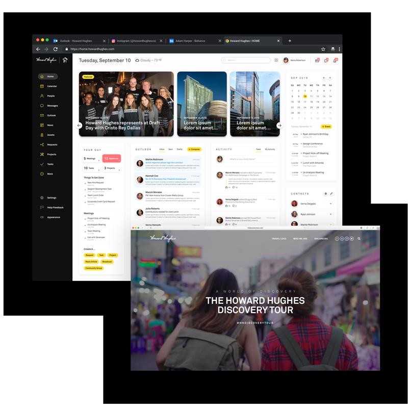 Web/Ui @ Howard Hughes - squarespace, webflow, adobe xd, front-end .net design