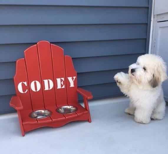 A born beach lover, little Codey adores his Adirondack style raised pet feeder.