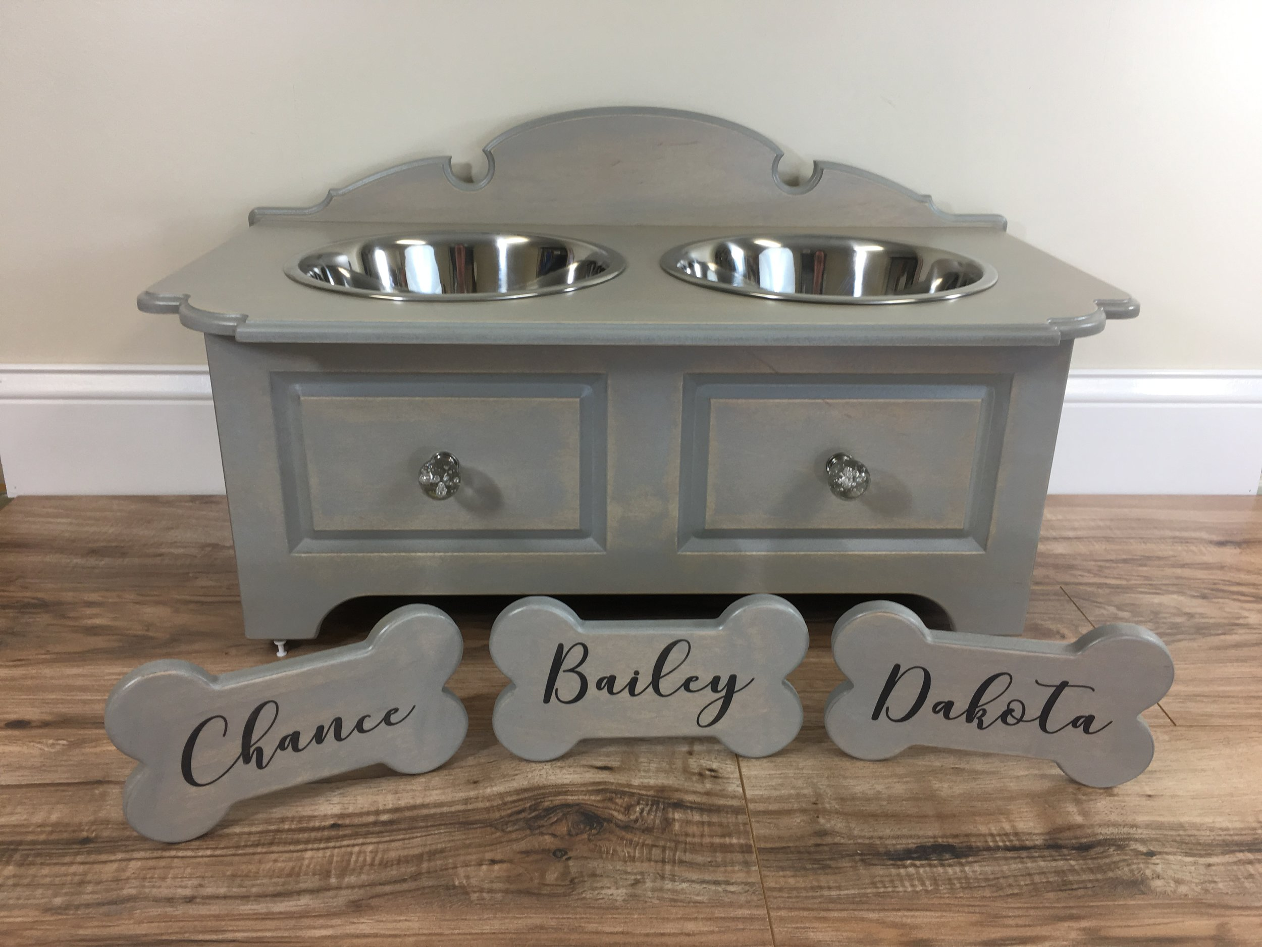 Elevated and elegant dog bowl for large breeds. It looks like a piece of furniture.