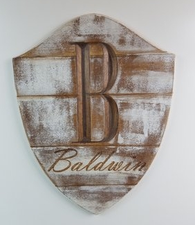 Our modern, yet rustic,take on the decorative family shield.