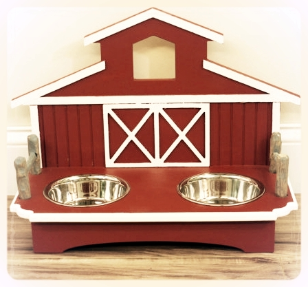 Another fun design for the dog that enjoys a country life: a Barn-style raised pet feeder