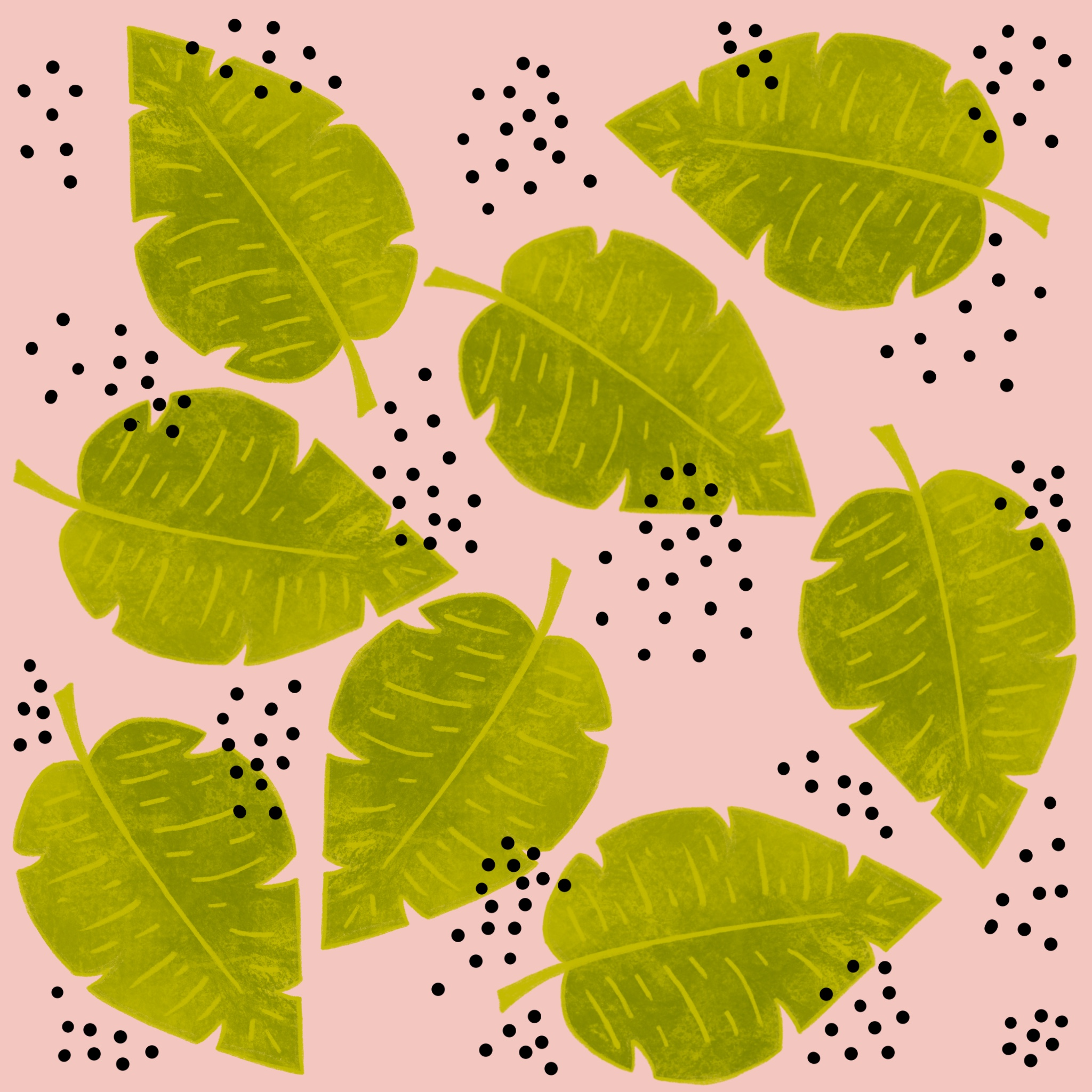 Illustrated Surface Pattern Design Palm Leaves Tropical