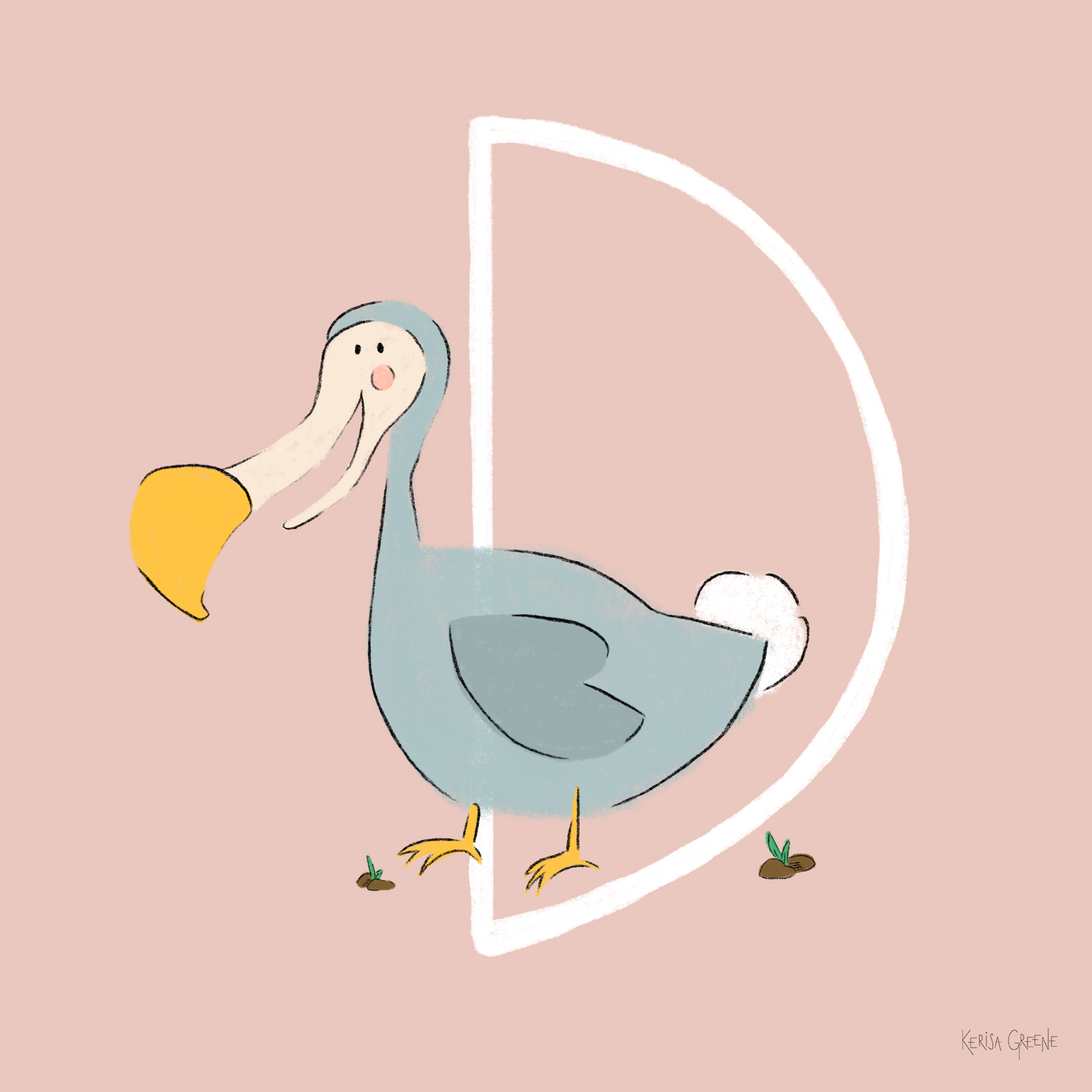 D is for Dodo Bird   This extinct flightless bird made an appearance in Alice in Wonderland where it's believed that the author Lewis Carroll (Charles Dodgson) chose this bird to represent himself because of his stammer... sometimes he would accidentally introduce himself as Do-do-Dodgson.
