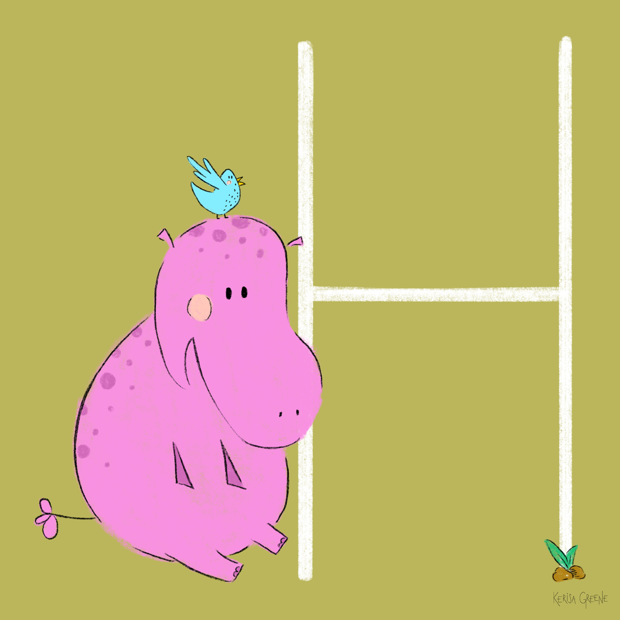 H is for Hippo   Hippos are the second largest land animal on earth and weighs as much as three small cars!