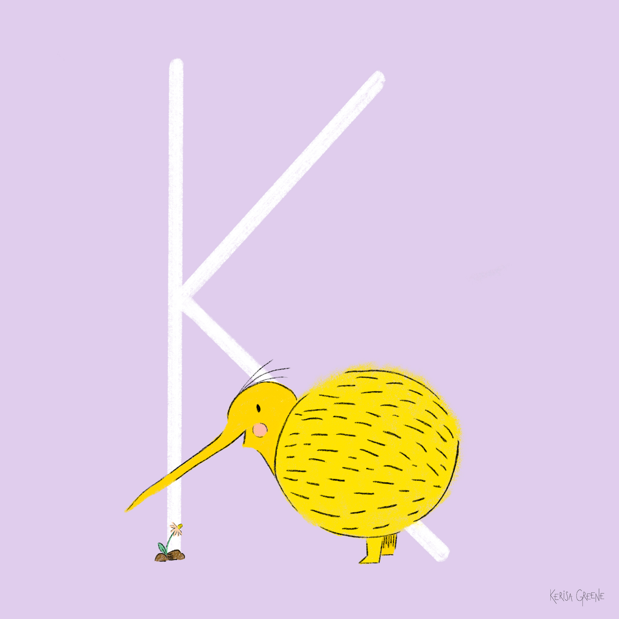 K is Kiwi Bird   These flightless birds tend to live as monogamous couples and are the only birds with nostrils at the end of their beaks!