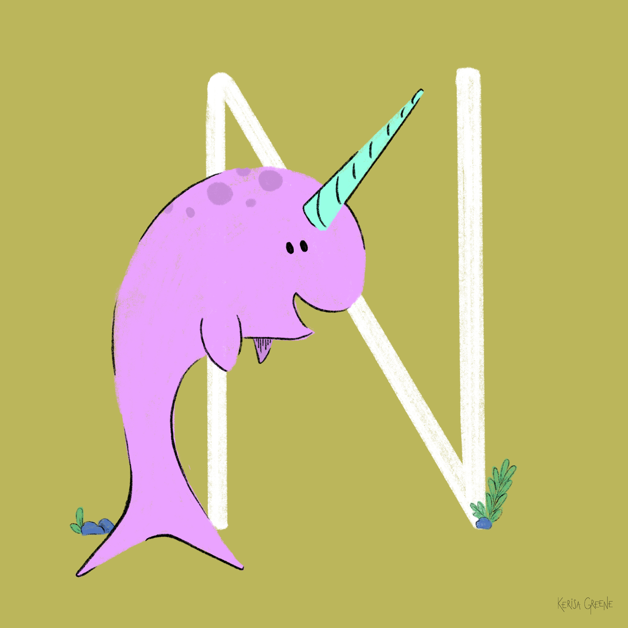N is for Narwhal   This magical animal uses their tusk to detect changes in the water temperature or saltiness.⠀
