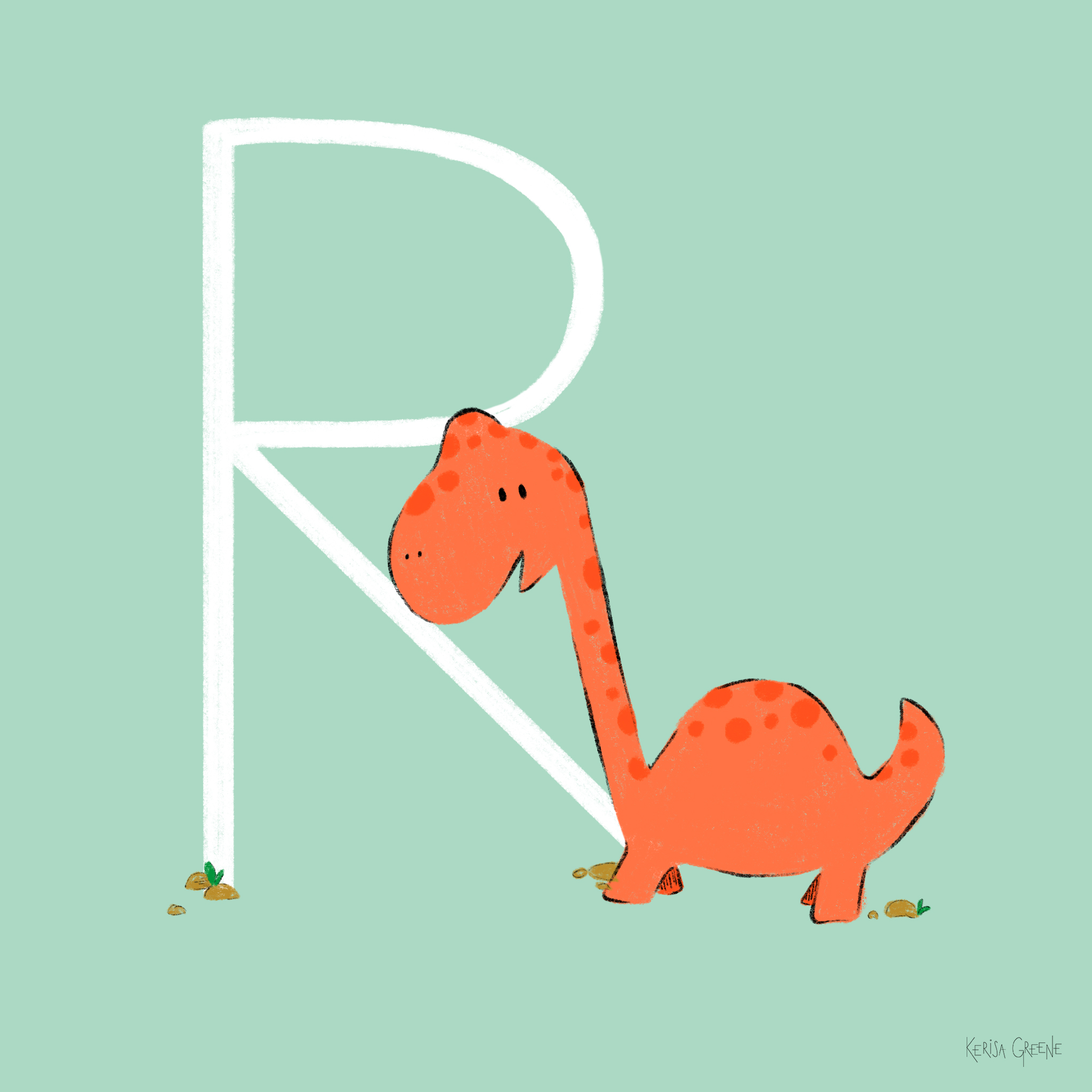 R is for Rhoetosaurus   This dino is an herbivore who would have lived in Australia during the Jurassic period.