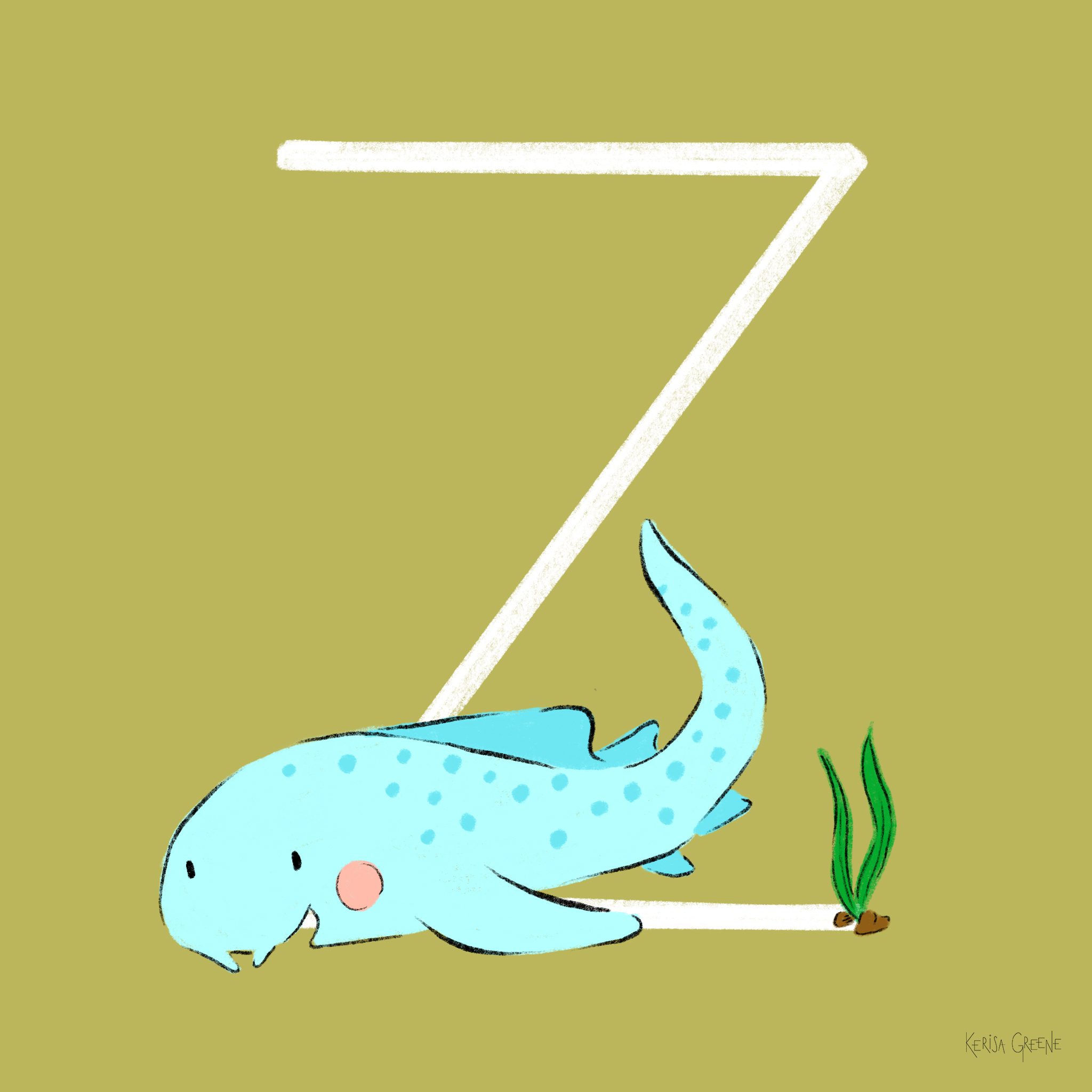 Z is for Zebra Shark   These nocturnal sharks can be found sleeping on the ocean floor and are considered endangered.