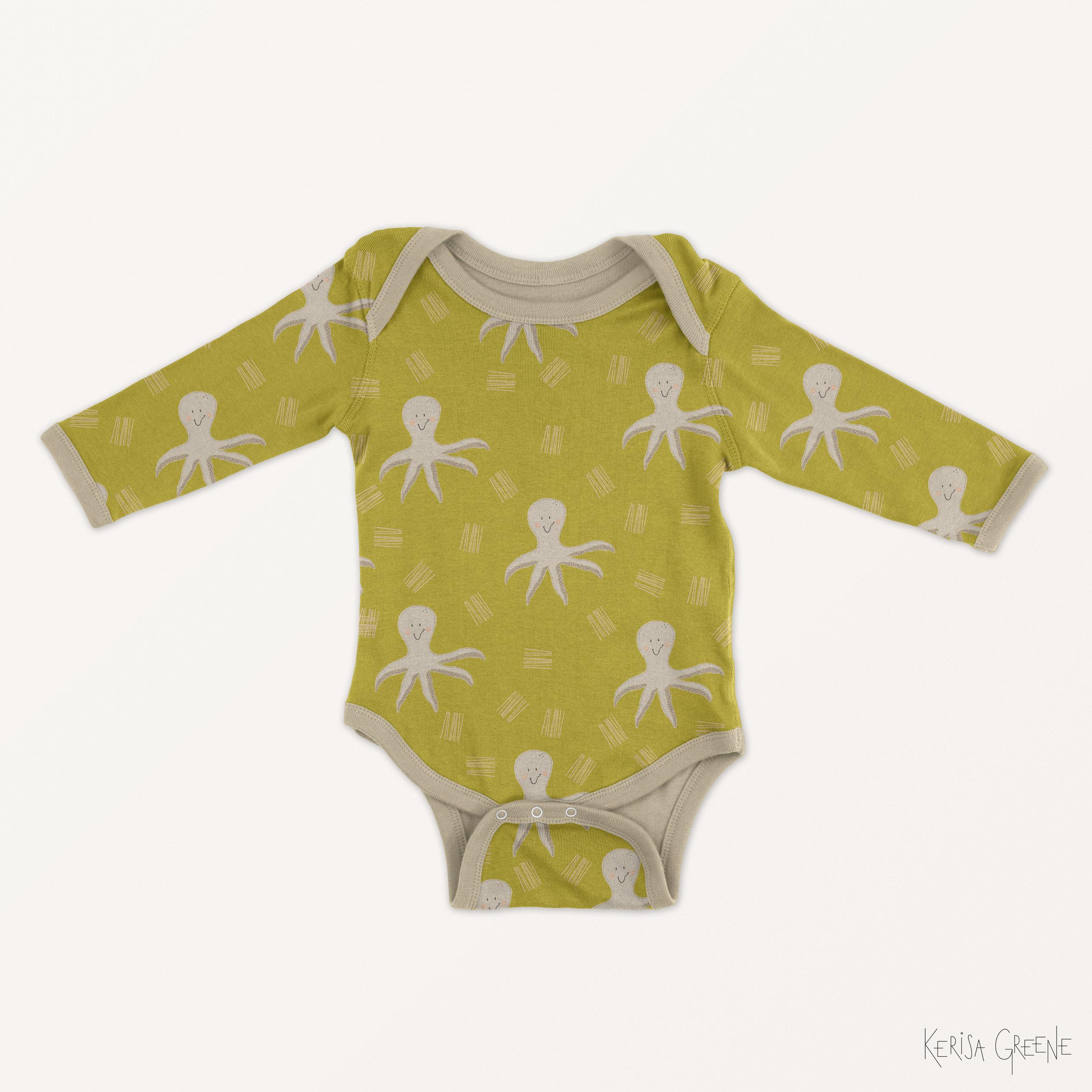 Kerisa Greene Octopus Surface Pattern Design Print Baby Kids
