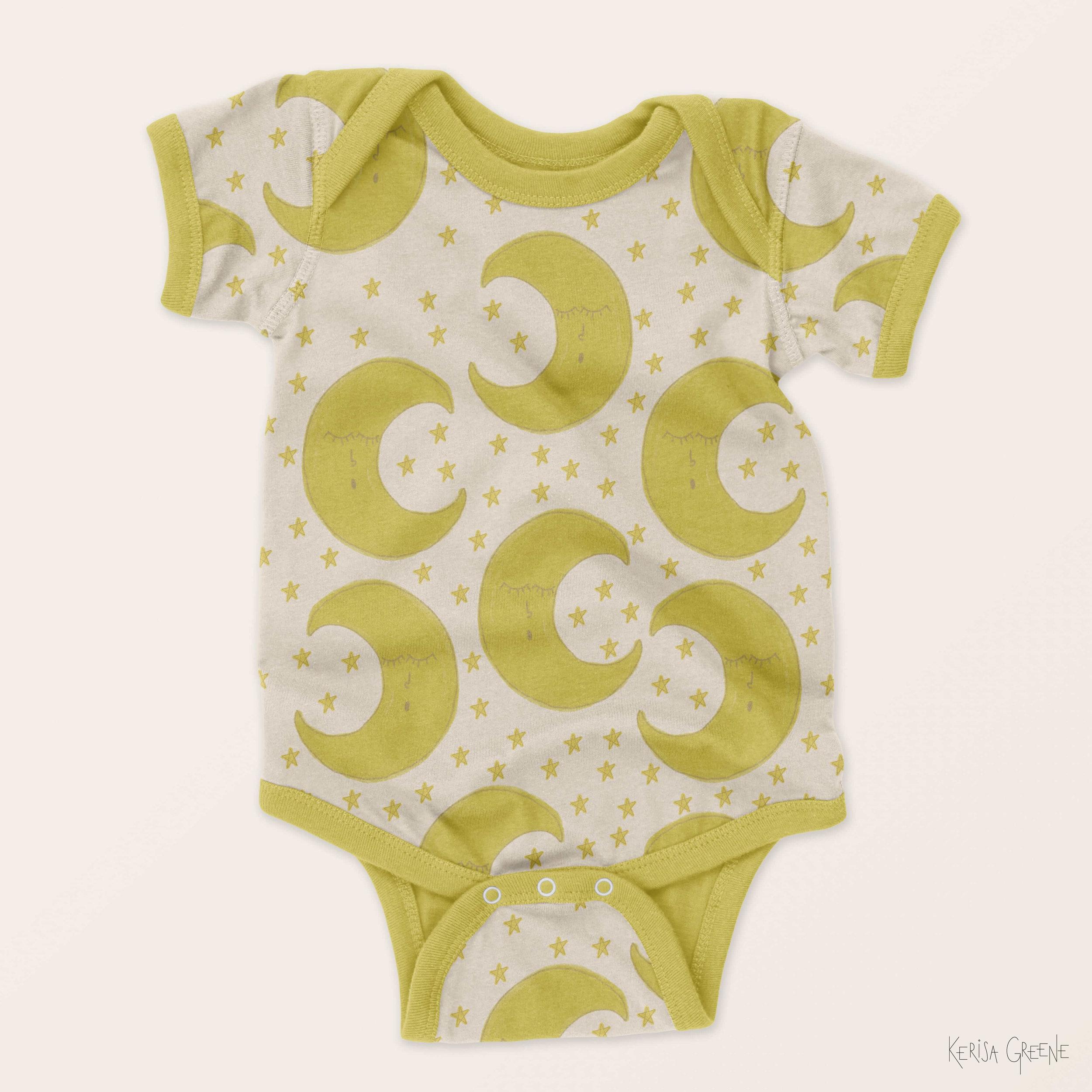 Kerisa Greene Illustration Kids Baby Surface Pattern Design Cute Sleeping Moon and Stars