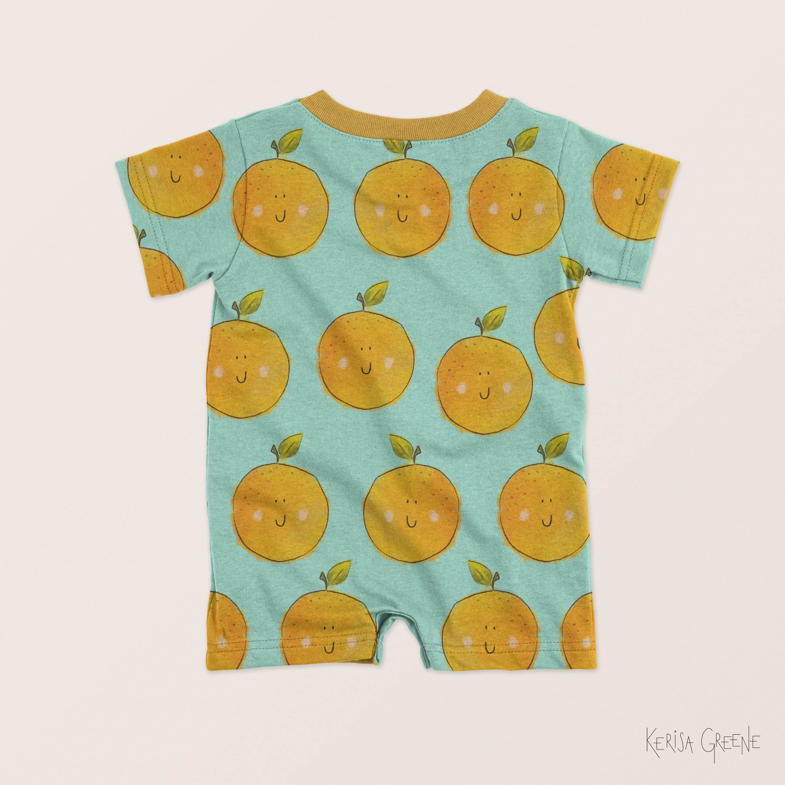 Cute Kids Baby Surface Pattern Design Clementine Orange Print Illustration By Kerisa Greene