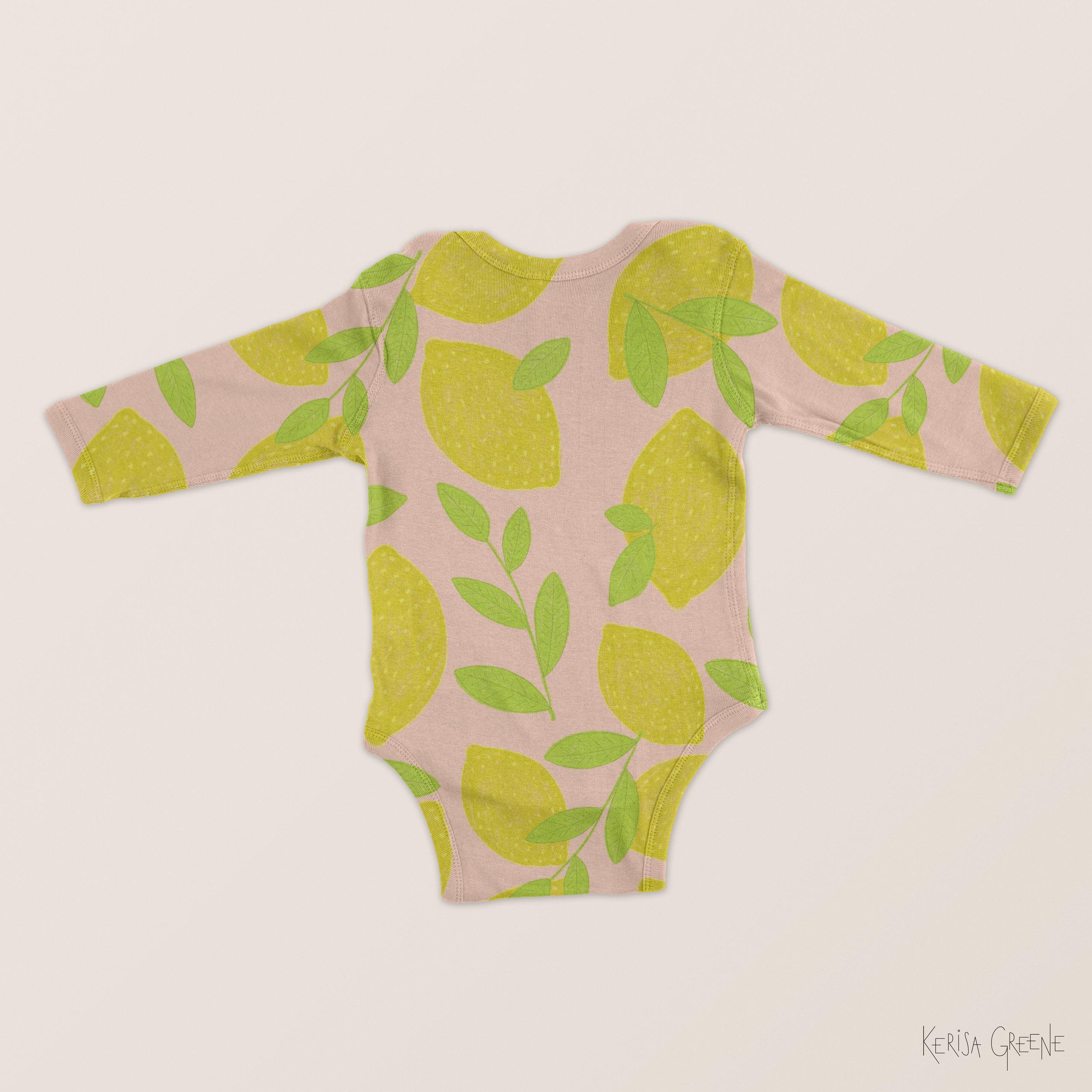 Cute Kids Baby Surface Pattern Design Lemon Print Illustration By Kerisa Greene