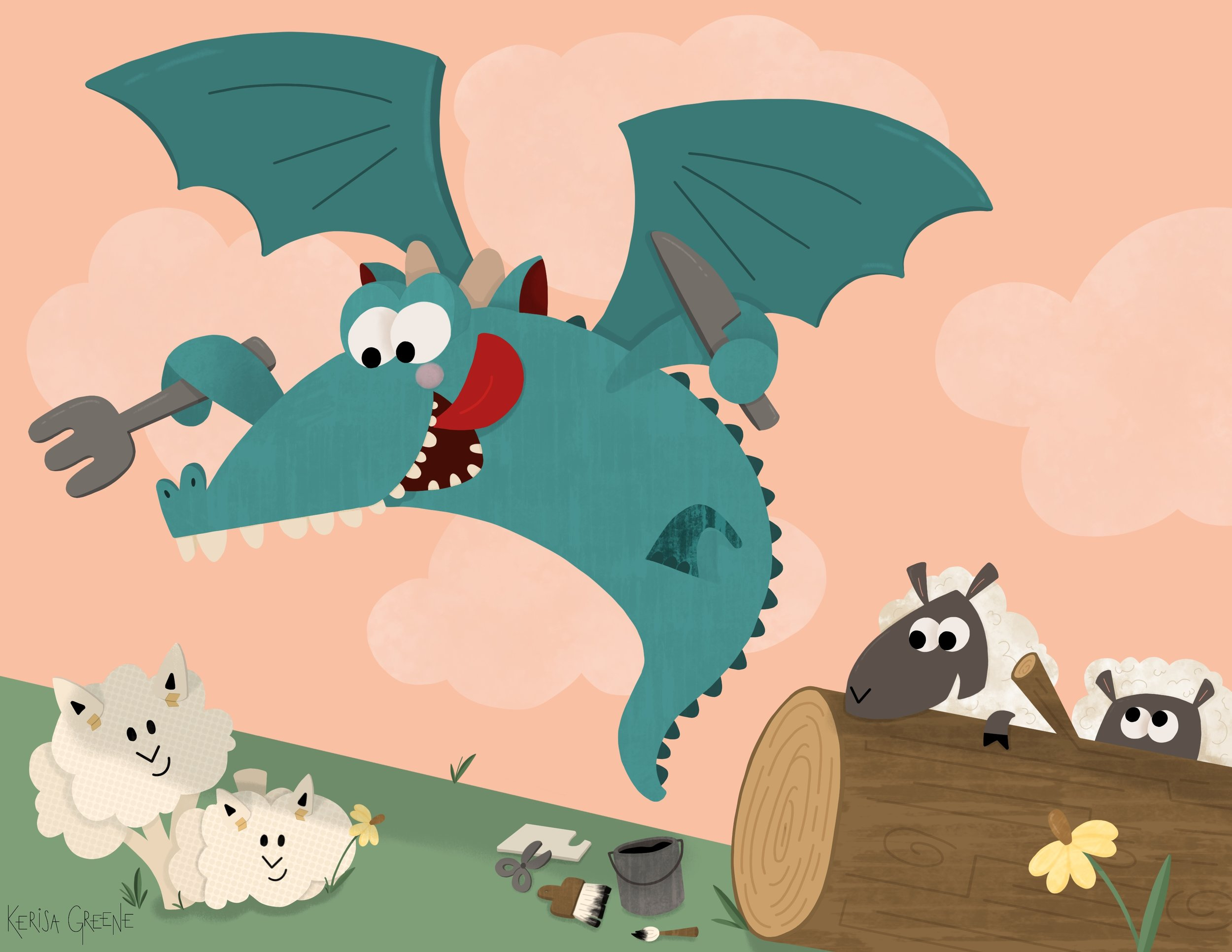 Kerisa Greene Kid Lit Illustration Cheep Creating a Cauliflower Decoy for a Hungry Dragon funny children's book