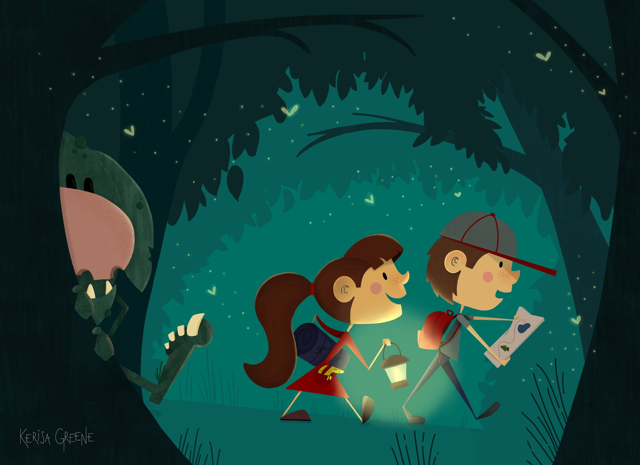 Kerisa Greene Kid Lit Illustration two kids hiking at night camping with a hidden troll following magical whimsical childrens book