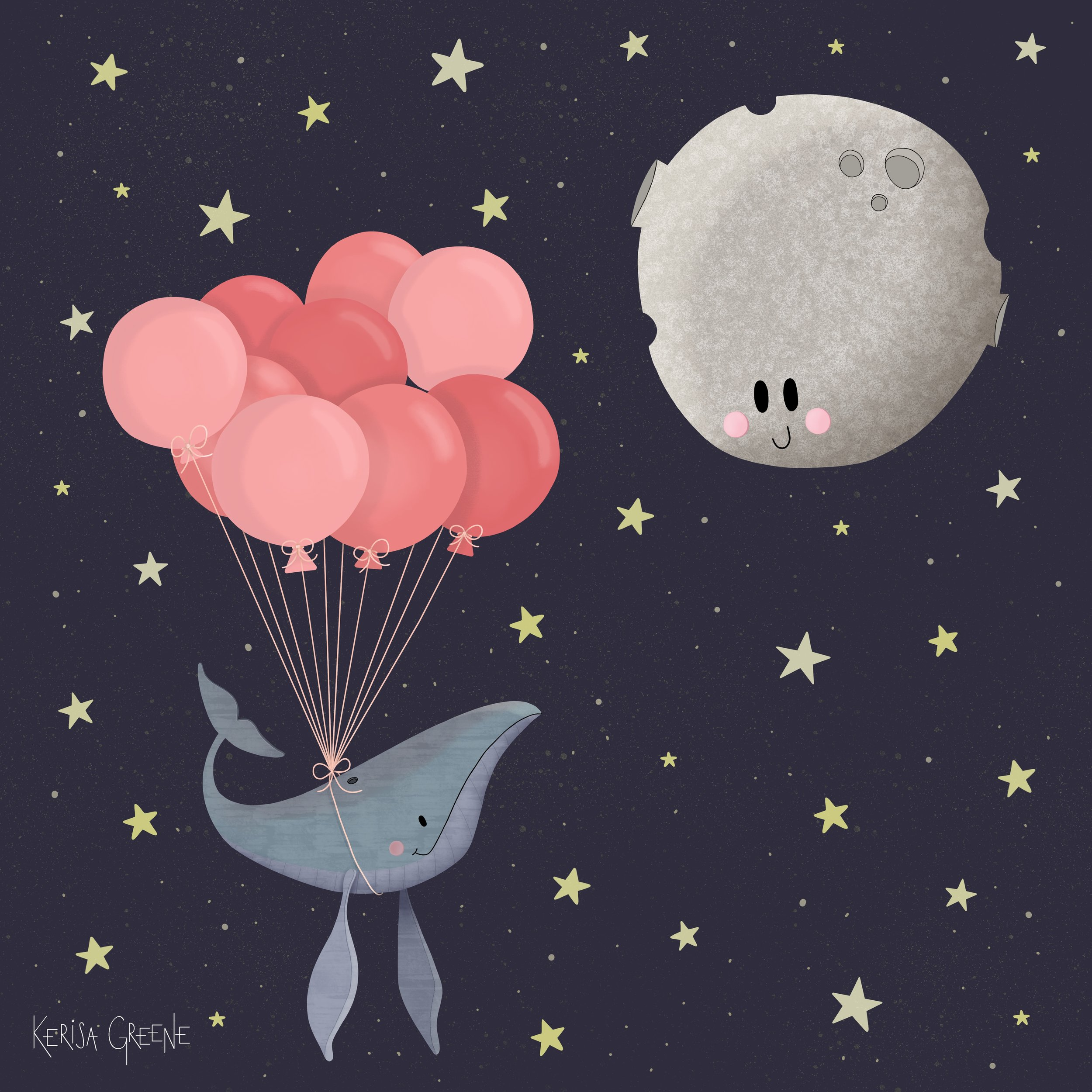 Kerisa Greene Kid Lit Illustration Cute Whimsical Magical Whale with Balloons floating up to the Moon at Night