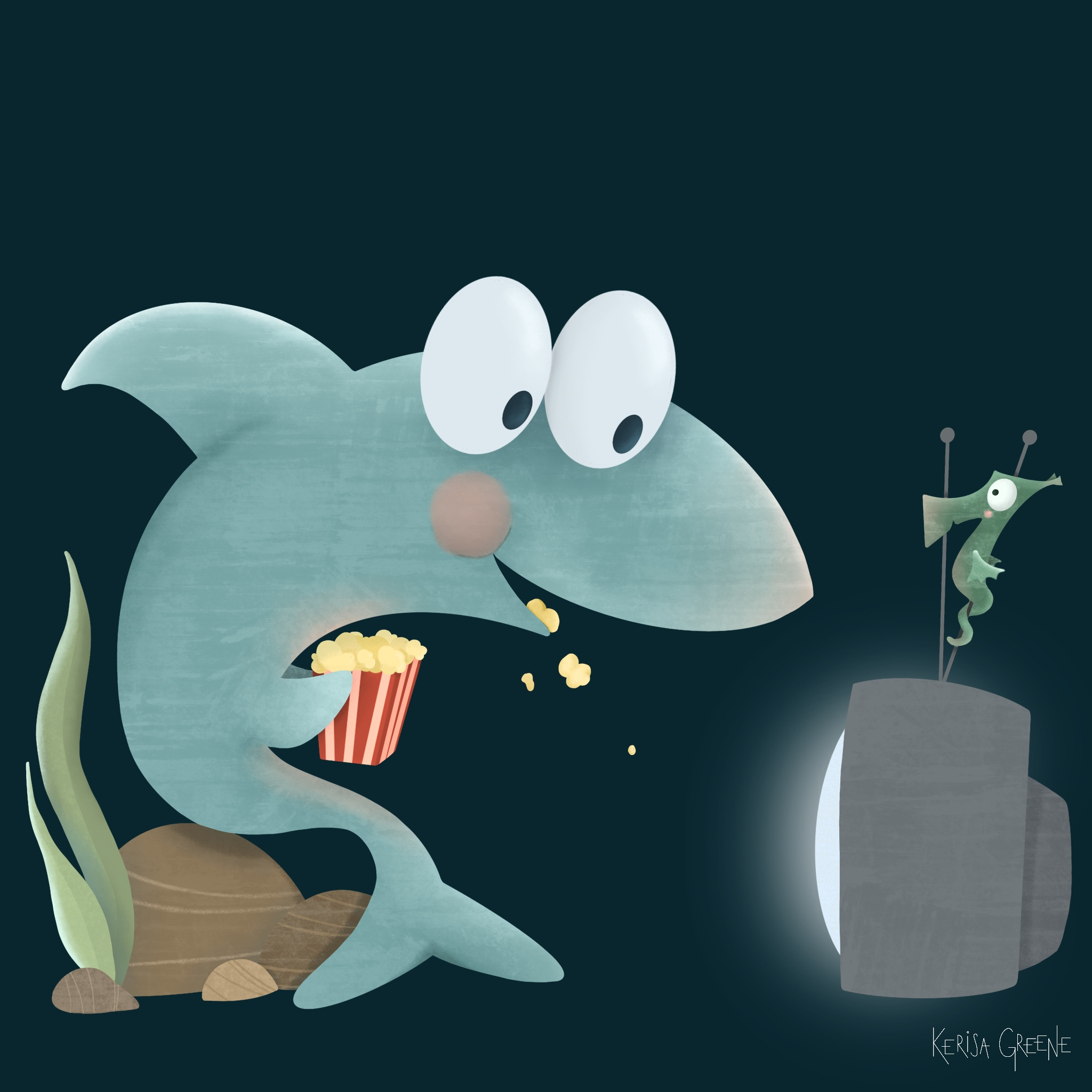Kerisa Greene Kid Lit Illustrations Cute Shark Watching Shark Week on the TV with a Sea Horse and Popcorn
