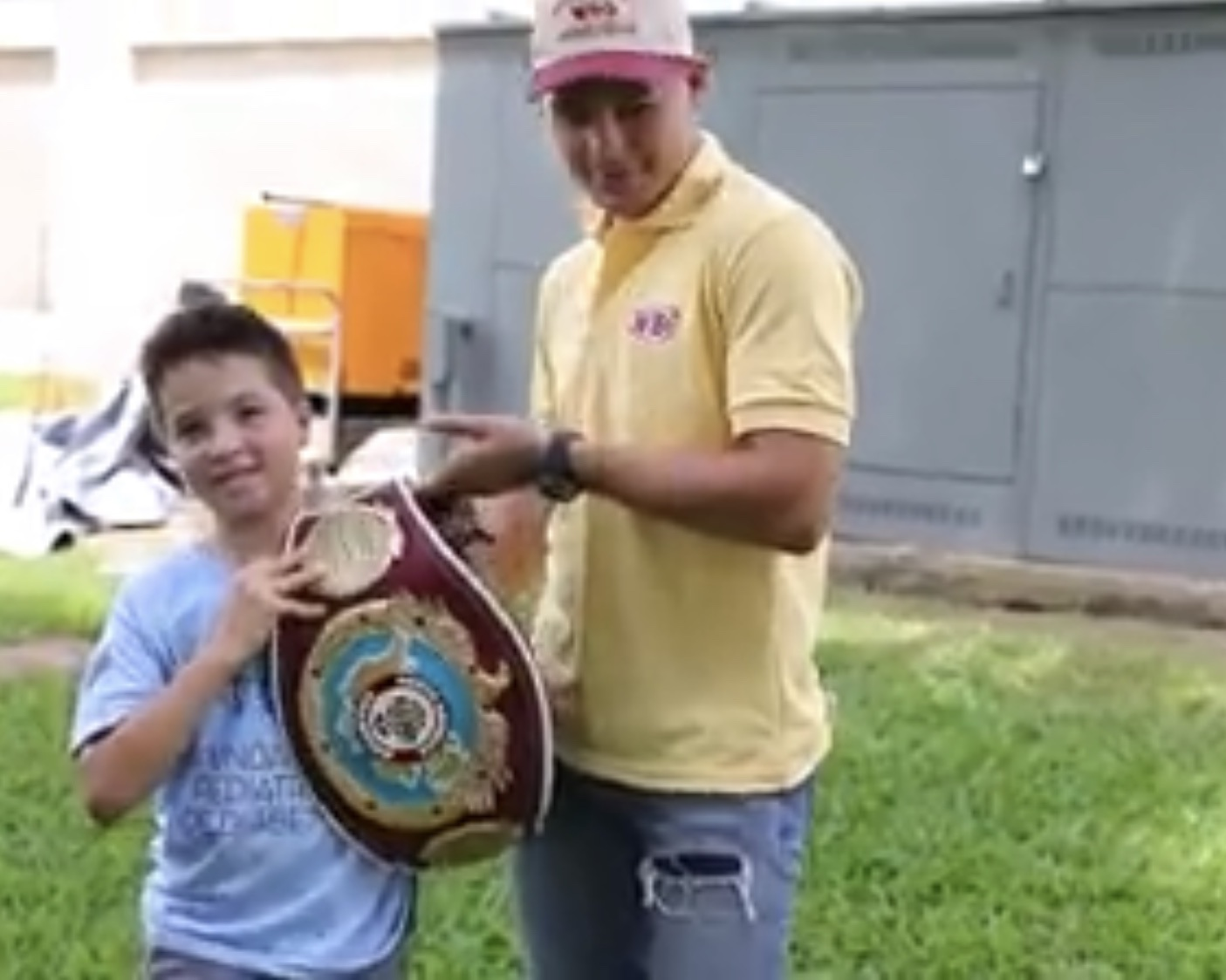 Jeyvier Cintron with the Caribbean Championship belt, visits Summer Camp
