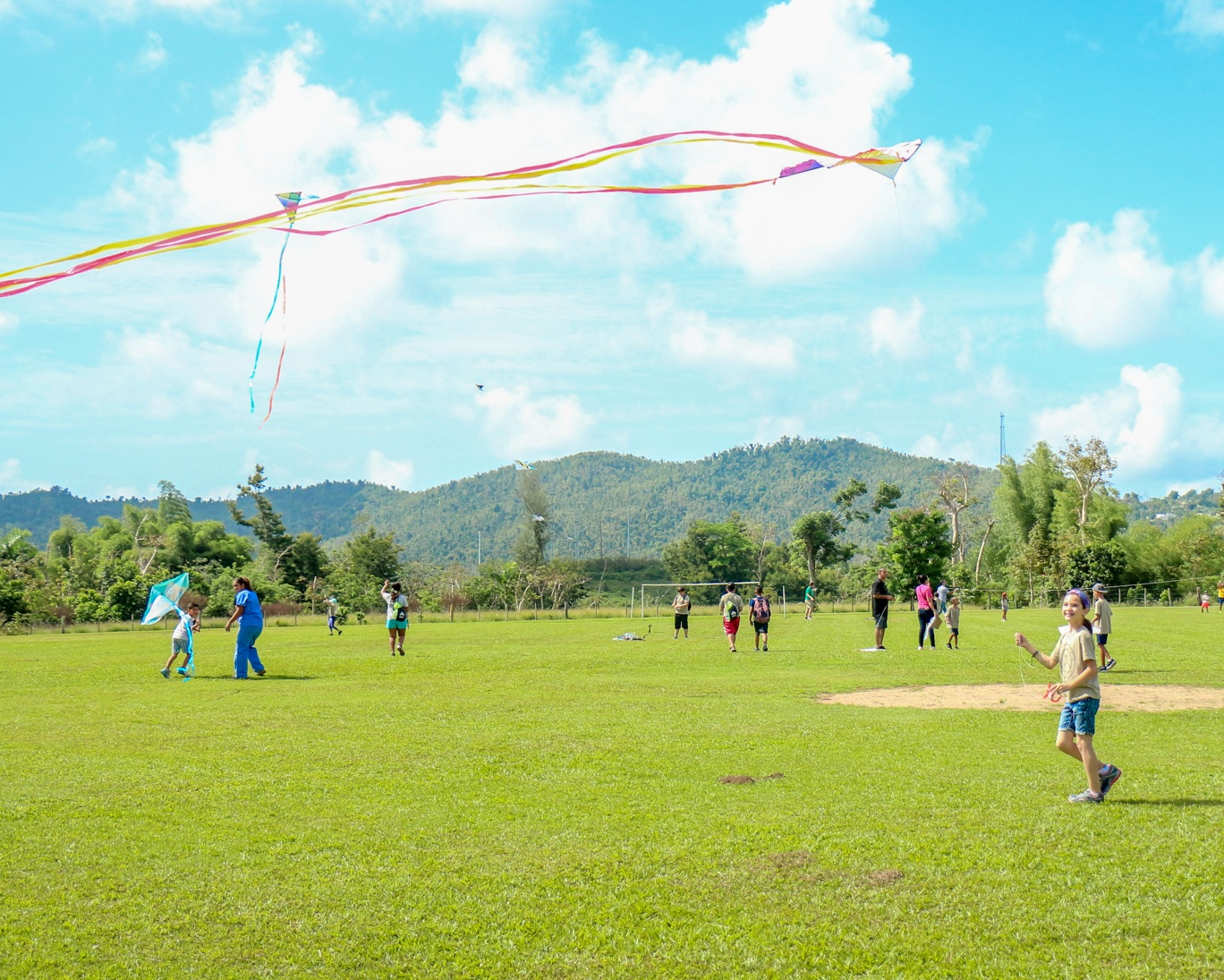 Kite flying with parents
