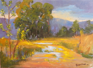 BLESSING MANIFESTED  12x16, oil on linen, unframed, $888  I painted this beautiful scene of a ranch in Cambria, California the week before the eucalyptus trees were cut down and the day after a rain storm. I am so happy to have captured the magestic quality of the eucalyptus tree so they can live on and share their immense wisdom with you.