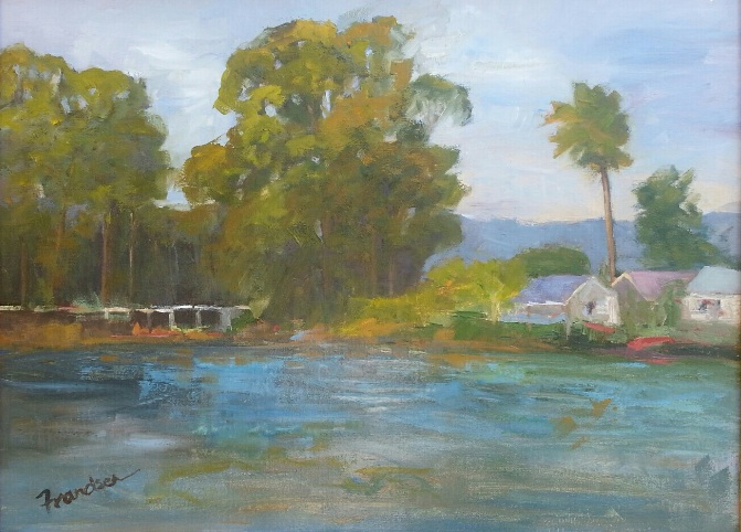 LOVELY LAGUNA LAKE  12x16, oil on linen, unframed, $888  The calmness of water, the power of eucalyptus trees and the simplicity of a bridge, a home, a single palm tree. Painted in San Luis Obispo one Fall day, I connected with the tranquility and simple beauty of this moment.