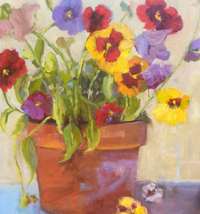 "PANSIES FROM THE GARDEN  12x16, unframed, oil on linen, $777 Picked from the garden in summer and planted in a simple terra cotta pot, these sweet flowers are filled with fragrance, color and light with a ""light-ness"" that feels happy and free."