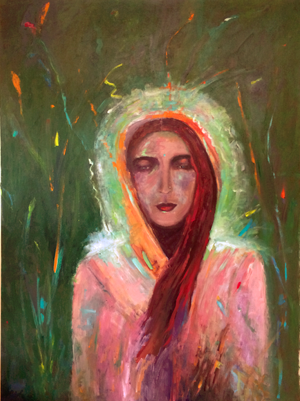 LUMINOUS BEING OF LIGHT  24x36, unframed, acrylic on canvas, $2,222  Goddess and Saint, Anandamayi Ma,(April 30, 1896-August 27, 1982) inspired me with her grace, beauty, and magnificent light. She is a beautiful soul that brings love and light into your life.