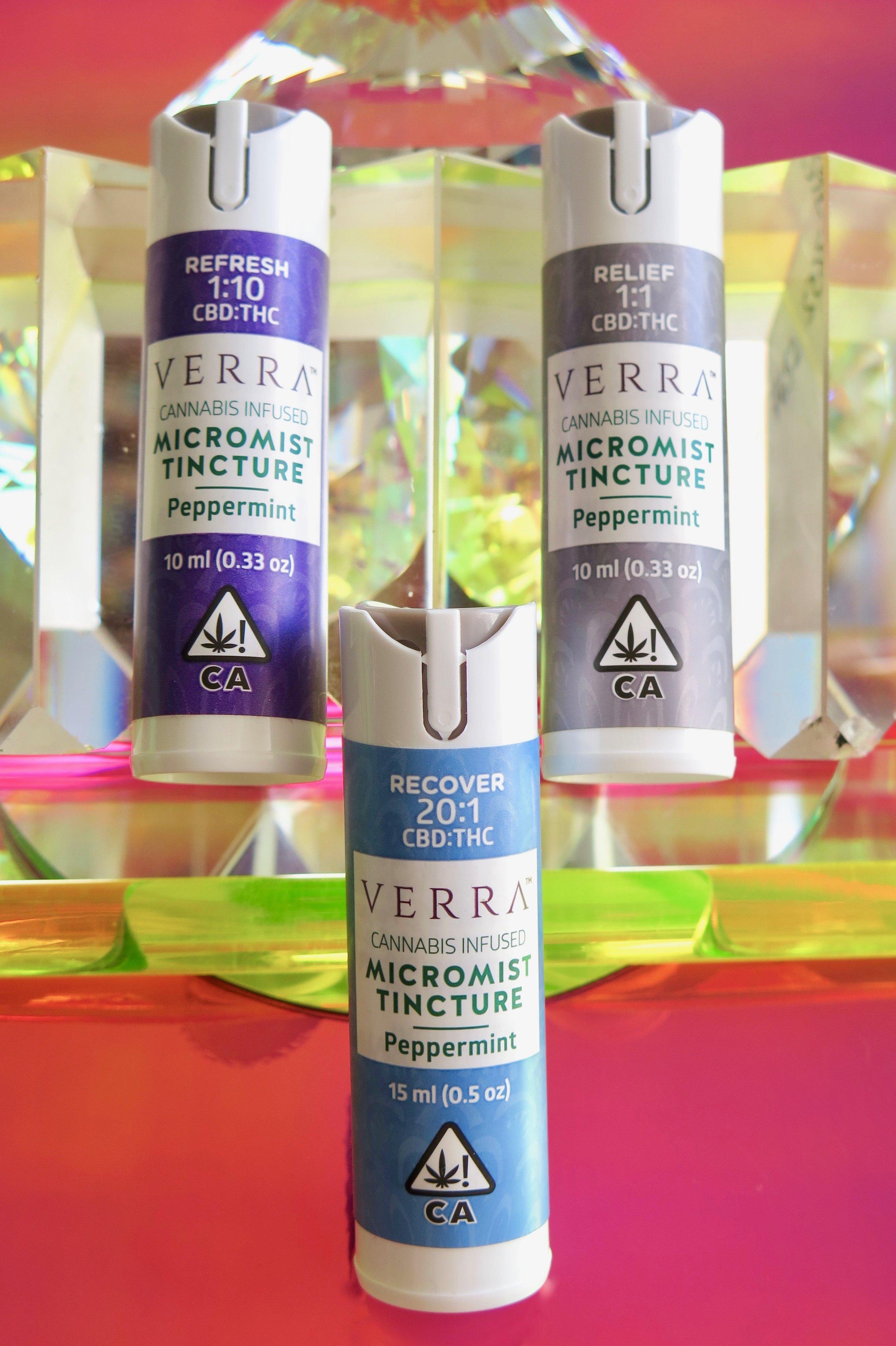 The trio of Verra Wellness Micromist Tinctures. Photo: Marcia Gagliardi. © mymilligram. Styling: Christian Jusinski/ Surfacehaus .