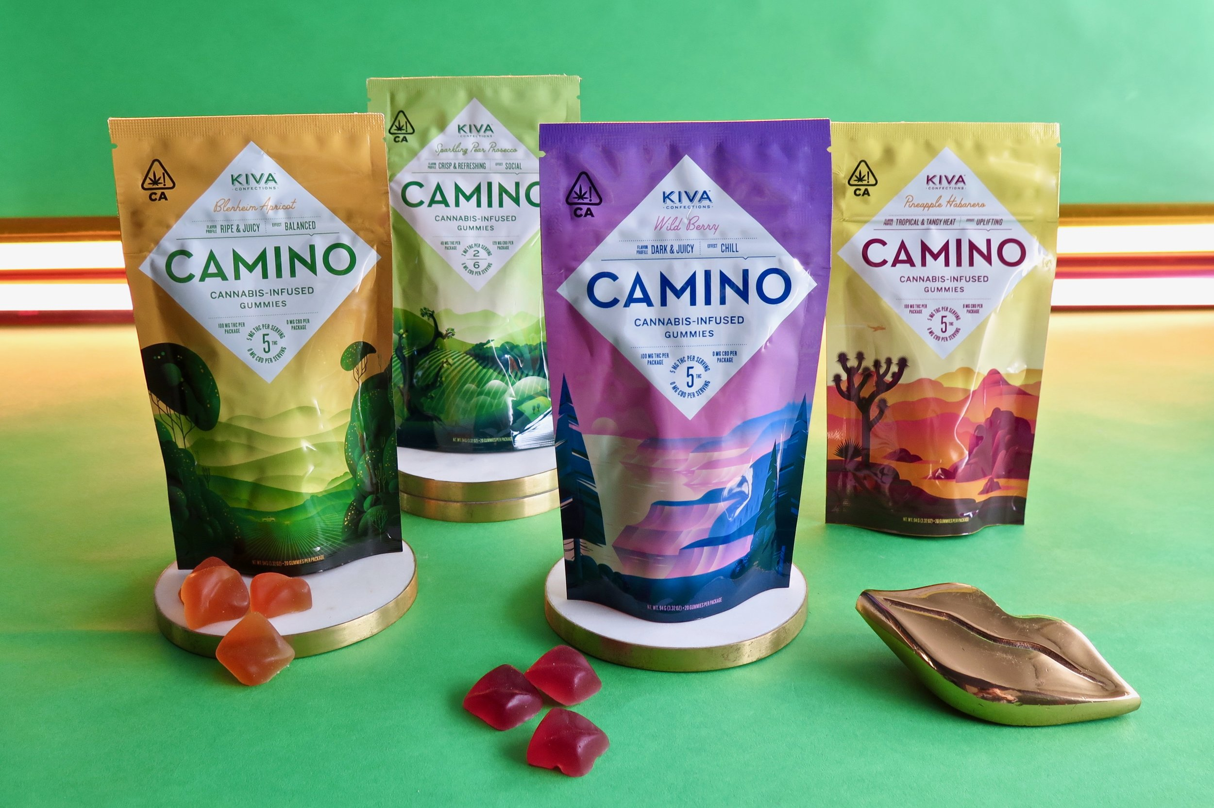 Kiva's Camino gummies come in four flavors and experiences. Photo: Marcia Gagliardi. © mymilligram. Styling: Christian Jusinski/ Surfacehaus . Props:  Jay Jeffers/The Store .