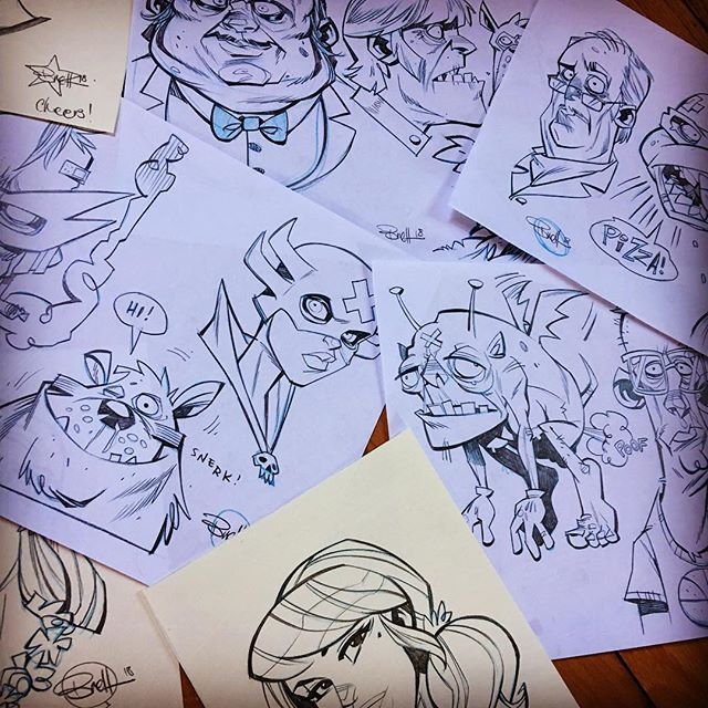 Almost caught up on all the sketch orders from the webstore! 😅✏️ If you're one of the good people waiting on doodle sheets, head sketches and shirts - rest assured all remaining orders will be going out today and tomorrow, thanks for being super patient! 🍻 🍻#beerstoyouoldamigo #comics#pencils#cartoons#blitzcadetstudios